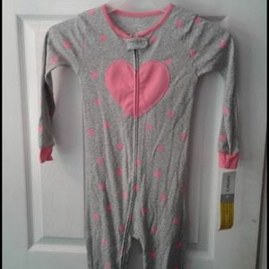 Carters 1 piece sleepware 4T gray with hearts NWT
